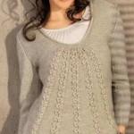 Вязание спицами. Расклешенный женский пуловер.