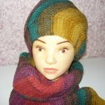 Женская шапочка и шарф от DROPS спицами.