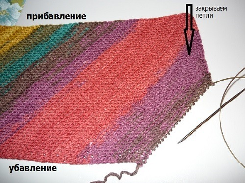 шарф,спицами