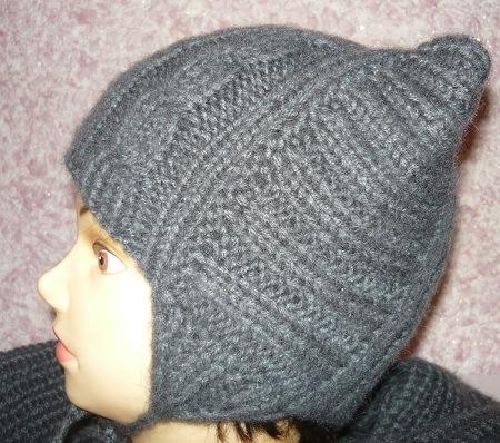 котошапка, детская шапочка спицами