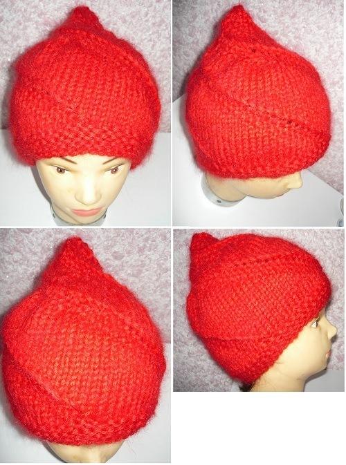 шапка,улитка,спицами