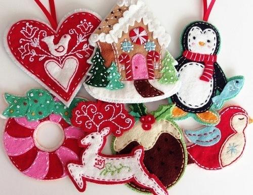 новогодние,поделки,игрушки,из,фетра