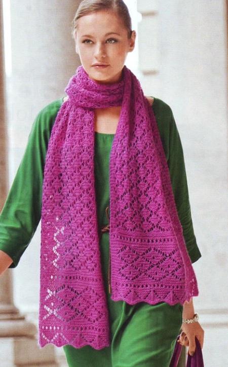 ажурный,женский,шарф,спицами