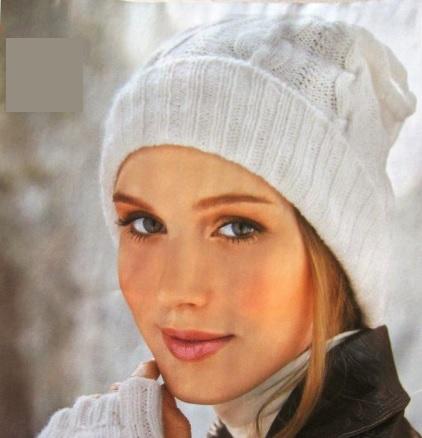 женская,шапка,с,отворотом,спицами