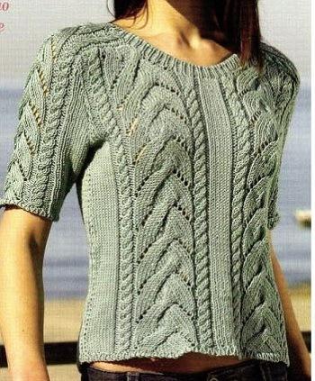 летний, пуловер, с косами